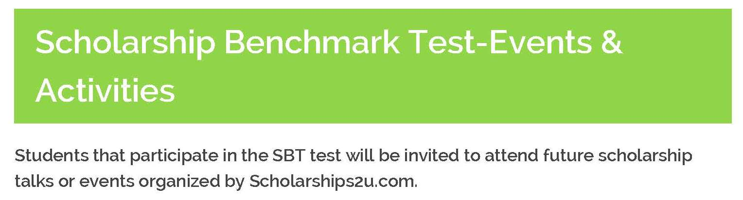 Scholarship Benchmark Test Sbt Et Education Services